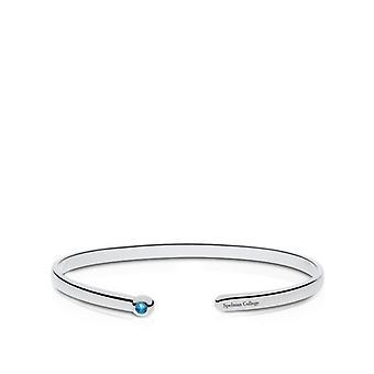 Spelman College Engraved Sterling Silver Blue Topaz Cuff Bracelet