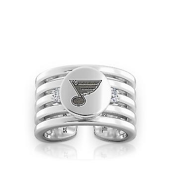 St. Louis Blues Engraved Sterling Silver Diamond Multiband Cuff Ring