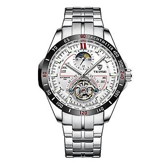 Tevise Mens Homage Automatic Mechanical Watch Red Silver Smart Watches T855