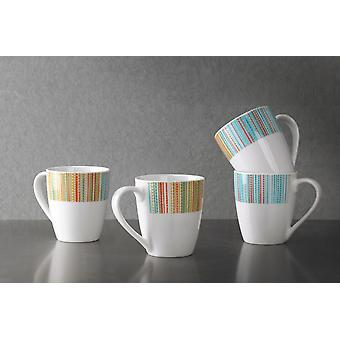 Portmeirion Studio Coral Stripe Mugs, Set of 4