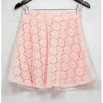 Zunie Skirt Elastic Waist Crochet Overlay Pull On Pink