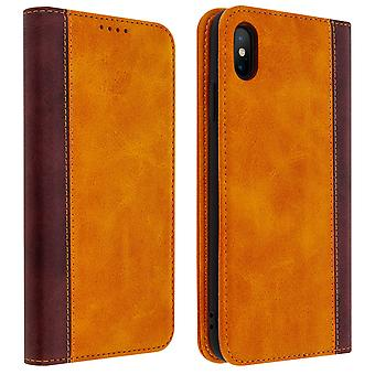 Apple iPhone XS Max Folio Case Storage Card Video Stand Camel