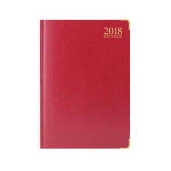 Tallon 2018 A4 DAP Red Padded Gilt Edged Desk Diary