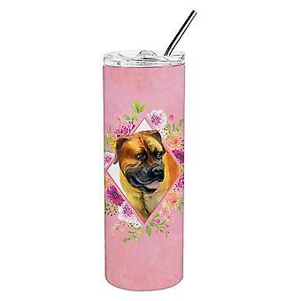 Borboel Mastiff roze bloemen dubbelwandige roestvrijstaal 20 oz mager tuimelaar