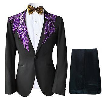 Allthemen الرجال & apos;s البدلة الرسمية بدلة 2-قطع الرقص دعوى سترة & السراويل
