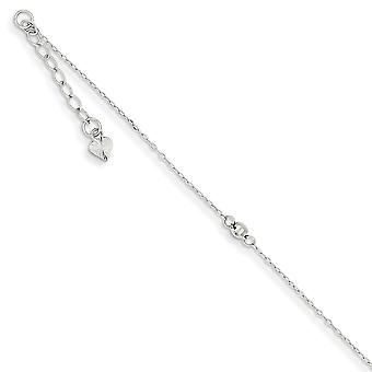 14K White Gold Polished Adjustable Spring Ring Sparkle Cut Mirror Beaded Anklet 9 Inch Jewelry Gifts for Women