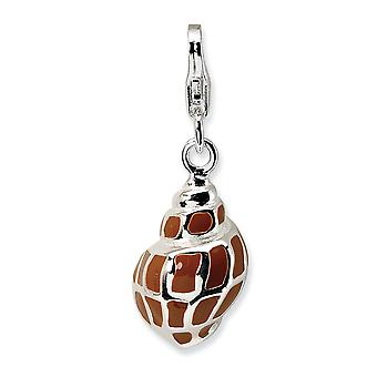 925 Sterling Silver Rhodium plated Fancy Lobster Closure 3 D Enameled Shell With Lobster Clasp Charm Pendant Necklace Me