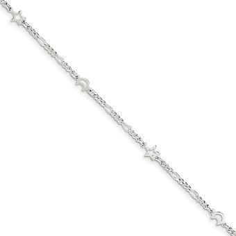 925 Sterling Silver Fancy Lobster Closure Polished Celestial Moon and Star With 1inch Ext. Anklet 9 Inch Jewelry Gifts f
