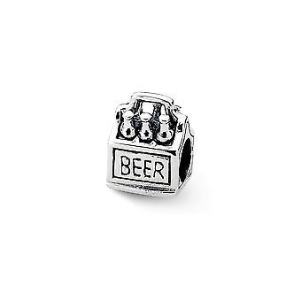 925 Sterling Silber poliert Reflexionen 6 Pack Bier Perle Anhänger Anhänger Halskette Schmuck Geschenke für Frauen