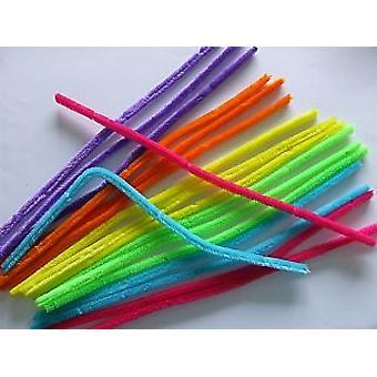 18 Neon 14mm Chunky Extra Long 50cm Pipe Cleaners | Chenille Stems
