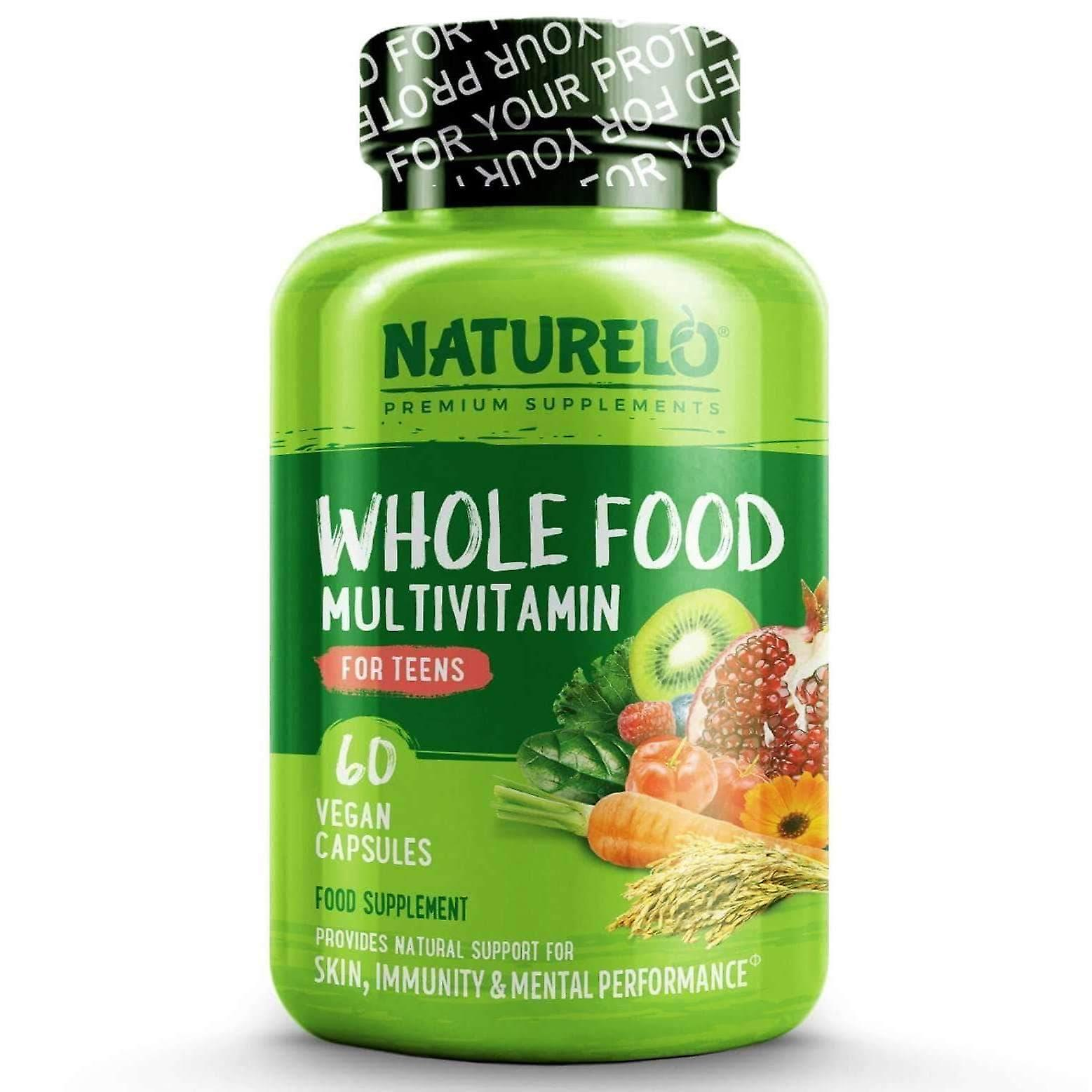 Teen's whole food multivitamin with natural vitamins/minerals - 60 caps | 1 month supply (vegan)