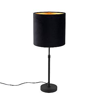 QAZQA Lampe de table noire avec noir d'ombre de velor avec or 25 cm - Parte