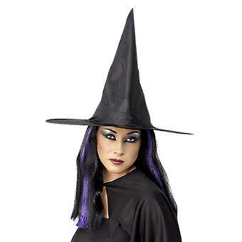 Deluxe Black Purple Witch Hat Velour Twig Halloween fancy dress Costume Witches