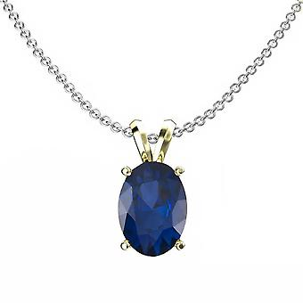 Dazzlingrock Collection 10K 8x6 mm Oval Cut Blue Sapphire Ladies Solitaire Pendant (Silver Chain Included), Yellow Gold