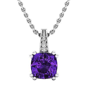 Dazzlingrock Collection 14K 7 MM Cushion Amethyst & Round Diamond Ladies Drop Pendant (Silver Chain Included), White Gold