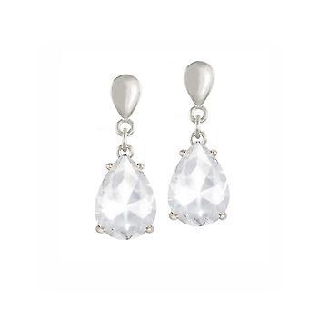 Eternal Collection Seduction Teardrop Clear Crystal Silver Tone Drop Screw Back Clip On Earrings
