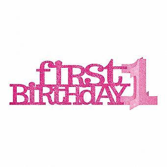 Amscan Sweet 1st Birthday Girl Glitter Centrepiece