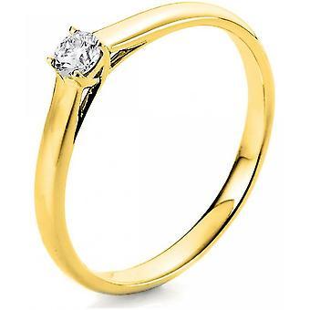 Diamond ring - 14K 585/- Yellow gold - 0.25 ct. Size 52