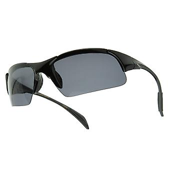 Semi-rimless Polarized Sports Wrap Sunglasses