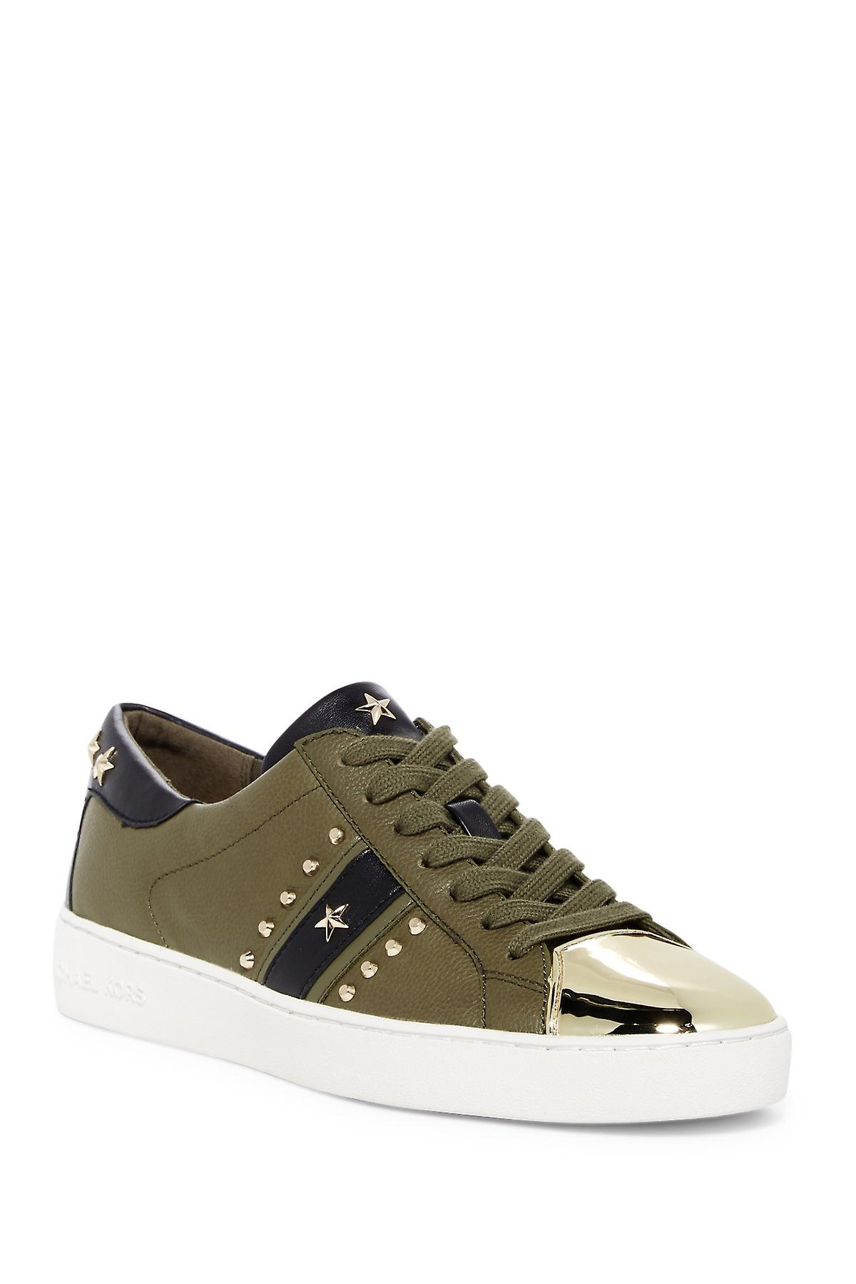 Michael Michael Kors Womens Frankie Stripe Leather Low Top Lace Up Fashion Sn...