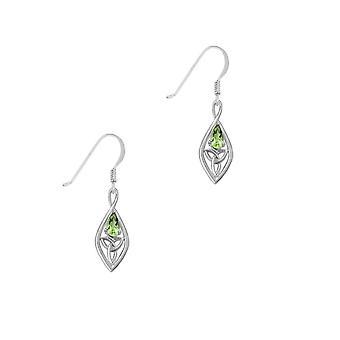 ケルトの聖トリニティノットオーバルドロップスタイルのイヤリングのペア - リアルペリドット宝石