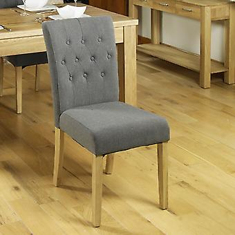 Oak Flare Back Upholstered Dining Chair - Slate (Pack of Two)- Baumhaus