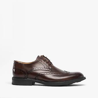 Steptronic Granada Mens Leather Brogue Shoes Brown