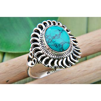 Turquoise Ring 925 Zilver Sterling Zilver Women's ring groen blauw (MRI 74-15)