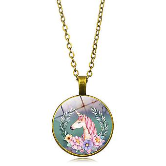 Unicorn round necklace