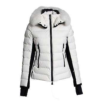 Moncler Lamoura Fur-Trimmed Down Puffer Coat Size 3 in White