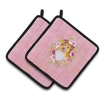 Sheltie Shetland Sheepdog Pink Flowers Pair of Pot Holders