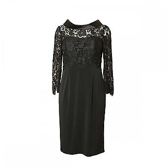 Ronald Joyce Women's Lace Top Diamante Detail Dress