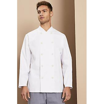 SIMON JERSEY Unisex Long Sleeve Heat Proof Button Chef's Jacket, White