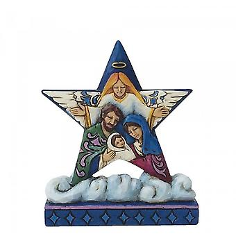 Jim Shore Heartwood Creek Nativity Star On Cloud With Holy Family Mini Figurine