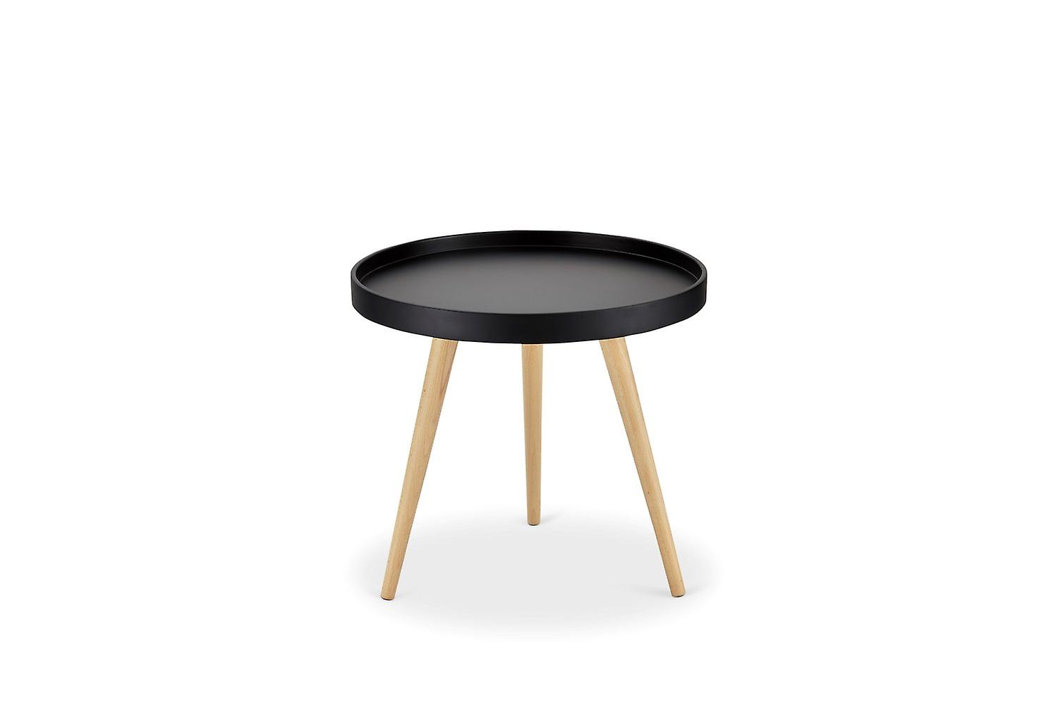 Furnhouse Opus Coffee Table Small, Black Top, Natural Wooden Legs, 50x50x45 cm