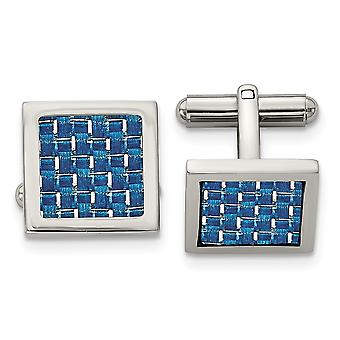 Stainless Steel Polished Blue Carbon Fiber Cuff Links Jewelry Gifts for Men