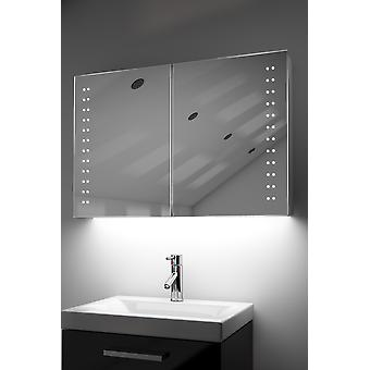 Demist Cabinet With LED Under Lighting, Sensor & Internal Shaver k370w