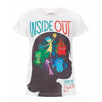 Disney Inside Out Sublimation Girl's Kids White T-Shirt Top Tee