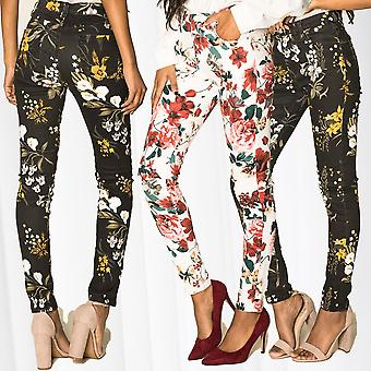 Women's Flowers High Waist Pants Stretch Shaping Trousers Stretch Fitness