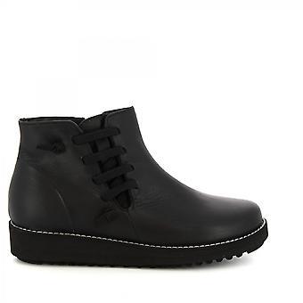 Leonardo Shoes Women's handmade wedges ankle boots in black leather side zip