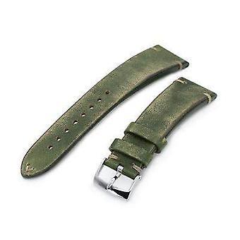 Strapcode الجلود ووتش حزام 22mm miltat الايطالية المصنوعة يدويا فرشاة حزام الساعة الخضراء، خياطة الكاكي