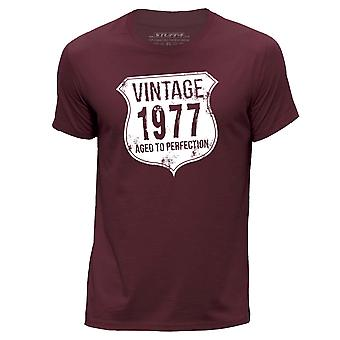 STUFF4 Men-apos;s Round Neck T-Shirt/ Vintage Born In 1977/Burgundy