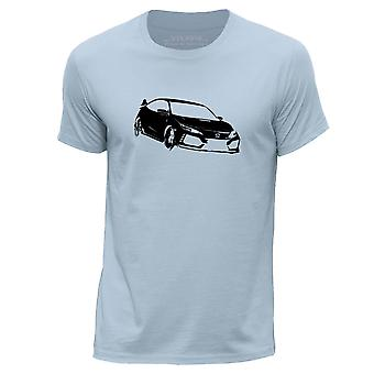 STUFF4 Hombres's Round Neck Camiseta/Stencil Car Art / Civic FK8/Sky Blue