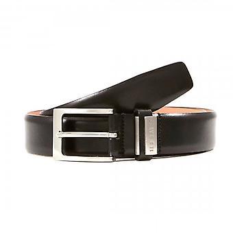 Ted Baker Bilding Branded Leather Belt Black