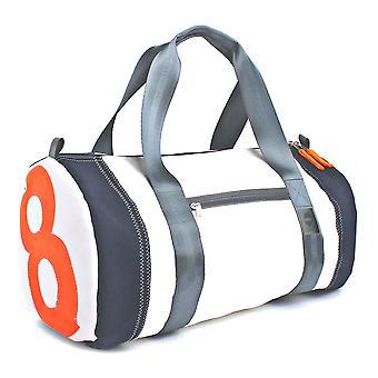 360 degree sports bag / weekender pirate white number neon orange beam navy strap grey, maritime, weatherproof