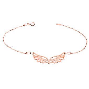 Ah, não! Jóias 18K Rose Gold Sobre Sterling Silver Wing Necklace, Carimbado 925