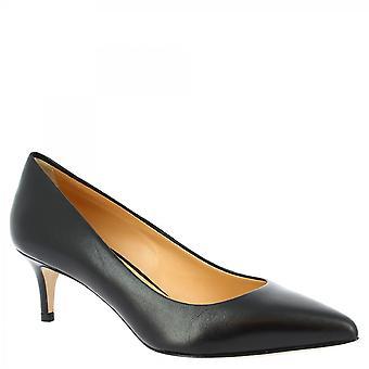 Leonardo Sko Dame's håndlagde mid hæler pumper sko i svart kalv skinn