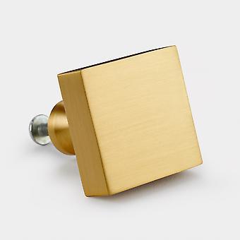 Perilla de la puerta de latón - oro - cuadrado