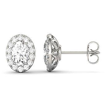 14K wit goud Moissanite door Charles & Colvard 7x5mm ovaal Stud Earrings Stud Earrings, 2.22cttw DEW