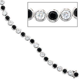 Náramek 925 stříbrný 19 cm s kubickou zirconií černou bílou stříbrnou skříňkou na náramek